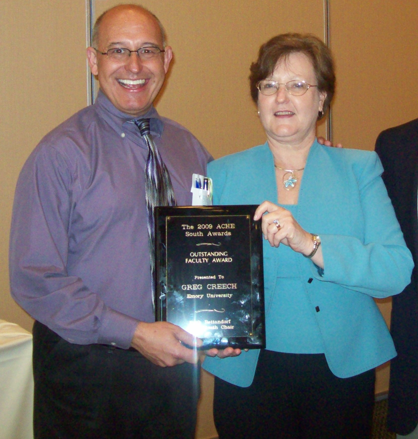 Accepting the 2009 Outstanding Faculty Award presented by Dr. Ruth Bettandorff representing the Southern Region of the Association of Continuing Higher Education.